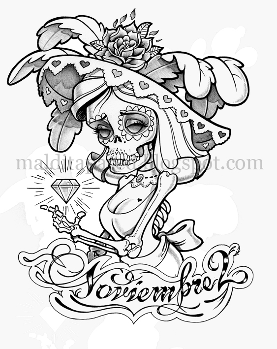 calavera catrina coloring pages - photo#16