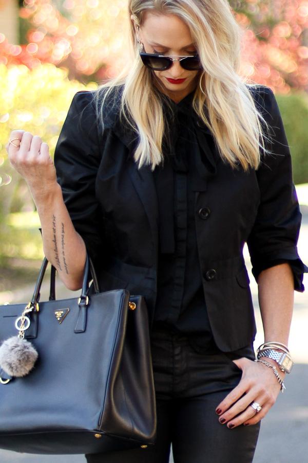 skinny black neck scarf
