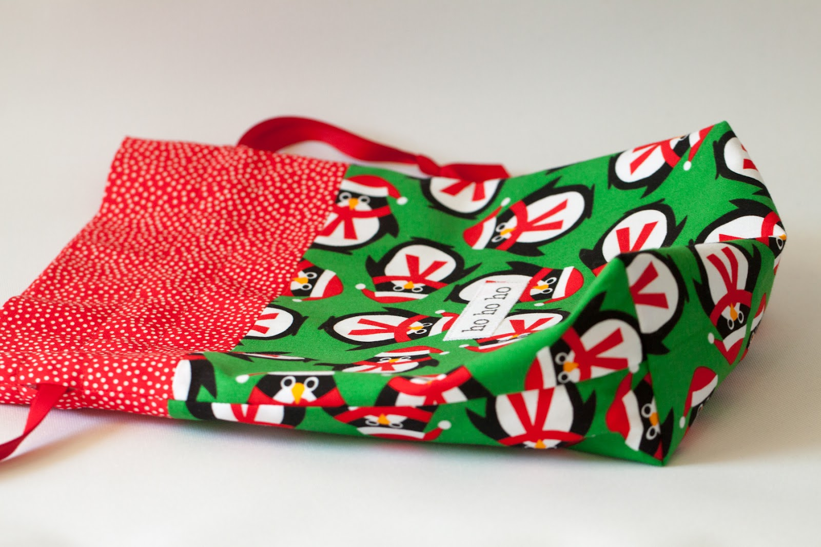 October christmas fabric gift bags