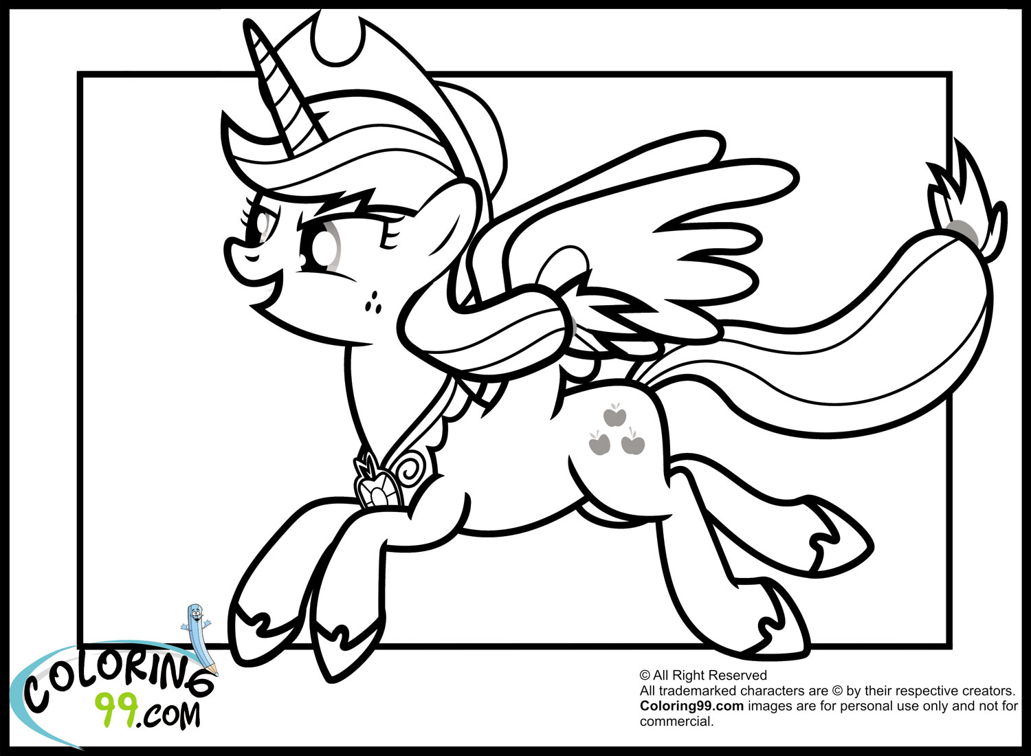 My Little Pony Applejack Coloring Pages Team Colors Applejack Coloring Page
