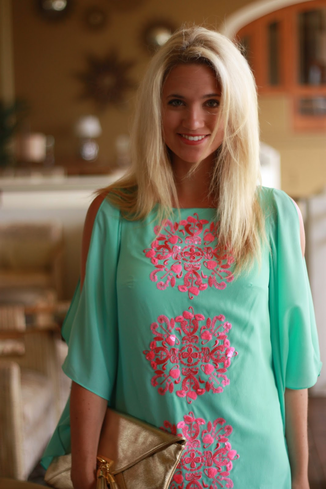 (caftan: Lilly Pulitzer, Shoes: Franco Sarto, Clutch: Lilly Pulitzer,  Earrings: Anna & Ava, Sunglasses: Target)