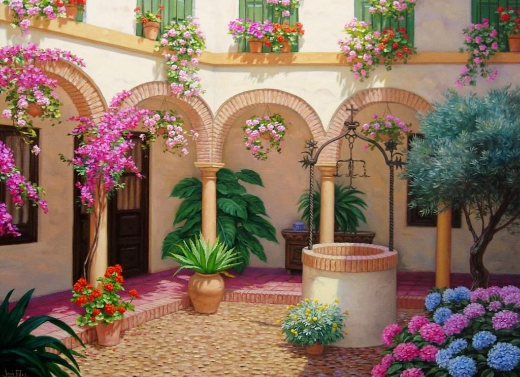 Im genes arte pinturas paisaje con flores alegres para pintar - Puzzles decorativos ...