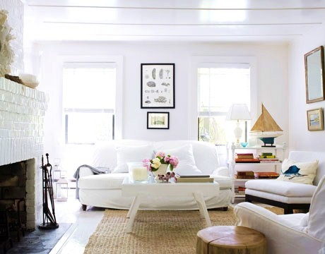 Living Room Vintage Sofa Covered In White Canvas Jute Rug An