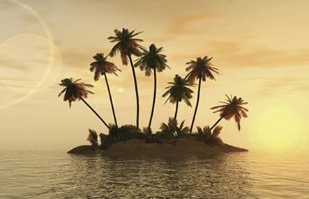 """Cette image montre une petite ile plantee de huit palmiers, nimbee d'une lumiere doree que l'on suppose due au moment ou a ete prise la photo : aube ou crepuscule, lever ou coucher du soleil. D'ailleurs toute l'image baigne dans cette lumier doree douce qui donne a la photo un caractere onirique. Au sol, l'ile présente une importante vegetation faite d'especes de fougeres, vegetation qui ne recouvre pas les rives de l'ile, faites, elles, uniquement de sable. La mer autour est calme, animee seulement de clapotis. Cette superbe image accompagne le non moins superbe poeme de l'immense poete moderne Le Marginal Magnifique intitule """"Sur mon ile"""" dans le quel le grand ecrivain explique que se distinguer par son raffinement, sa culture et ses aspirations nobles dans ce monde equivait a se contraindre a la solitude, solitude symbolisee metaphoriquement dans le poeme par une ile. Cependant, malgre cette solitude et les vents contraires qu'on lui impose Le Marginal Magnifique affirme sa volonte de ne jamais perdre espoir et de ne pas dévier d'un millimetre de sa ligne de conduite, qu'il estime eminemment juste et noble. Ainsi, comme les stars qui s'achetent des iles, Le Marginal Magnifque possede lui aussi la sienne, mais, contrairement a un Johnny Depp par exemple, la sienne est gratuite et bien plus saine, pleine de panache. Un poeme plein d'humour et de sens ! Bravo, Monsieur Le Marginal magnifique !"""