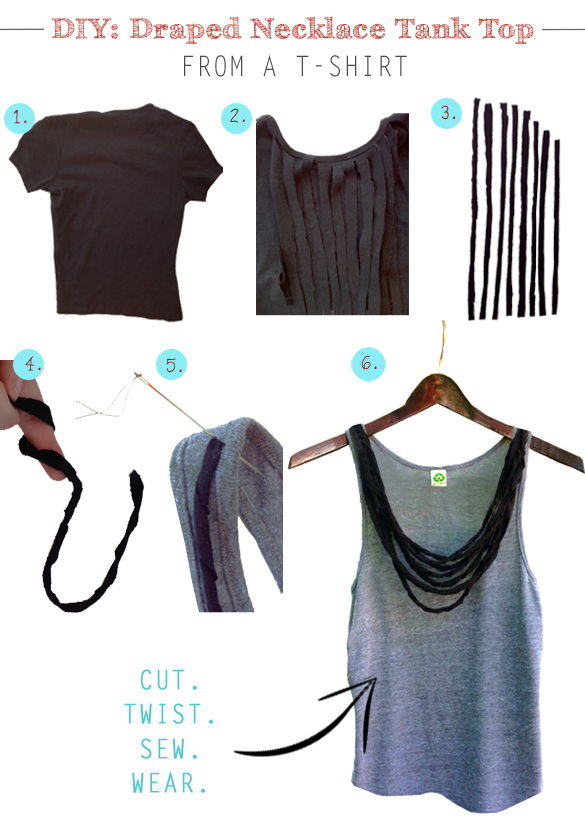 diy draped necklace tank top from a t shirt. Black Bedroom Furniture Sets. Home Design Ideas