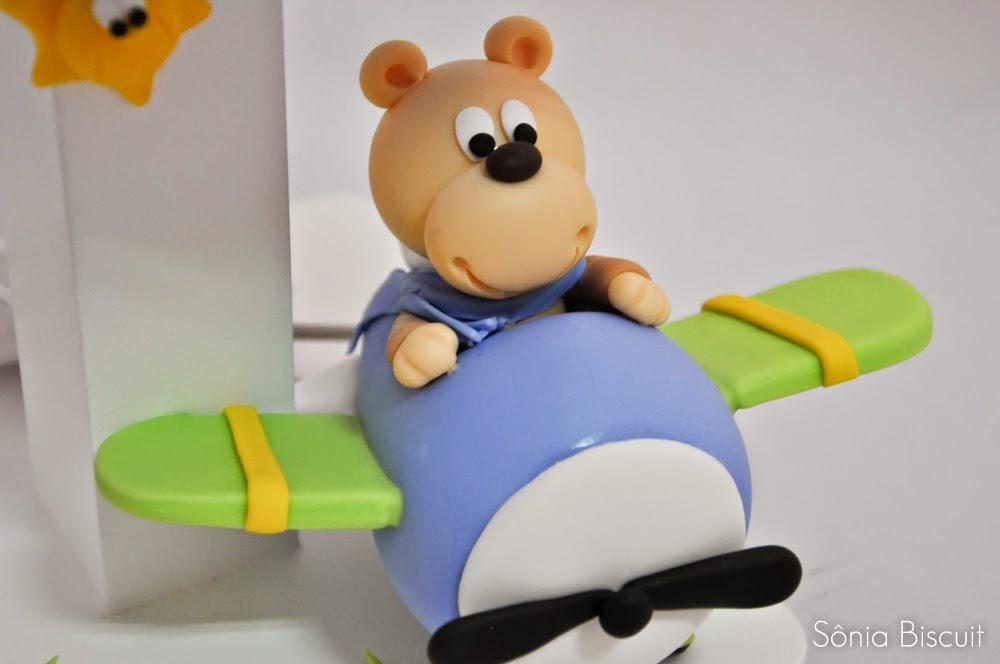 Kit Quarto Bebê Ursinho Aviador Biscuit Abajur