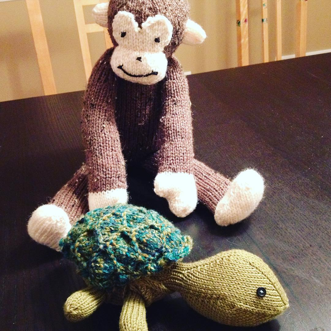cobberson sheldon turtle monkey stuffed hand knit toys