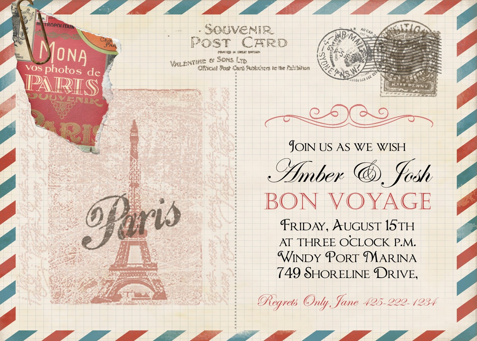 Sugar and spice invitations bon voyage vintage post card honeymoon bon voyage vintage post card honeymoon invitation new york sugar and spice invitations stopboris Image collections
