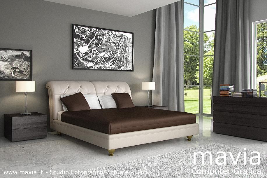 Arredamento di interni letto matrimoniale moderno in pelle con testata imbottita a lavorazione - Camere da letto in pelle ...