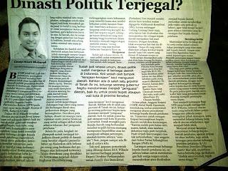 Artikel Cecep Husni Mubarok di Koran Kabar Cirebon, Dinasti Politik Terjegal?