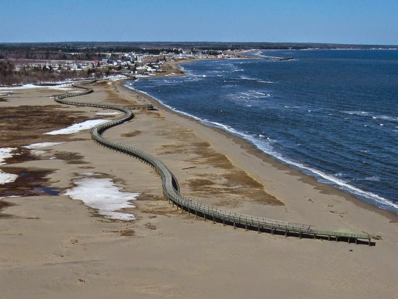 Aerial view of what's left of the Bouctouche Dune.