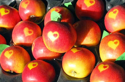 Apples with hearts on their skins