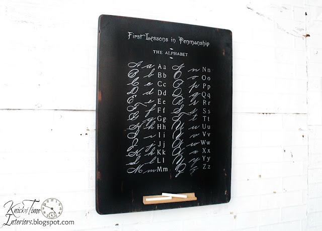Antique school alphabet page repurposed chalkboard | www.knickoftime.net