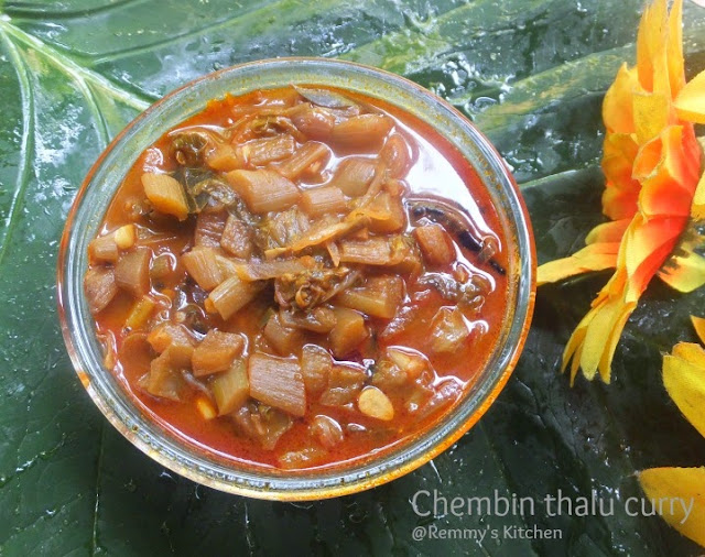 Chembin thalu curry / Taro stem curry