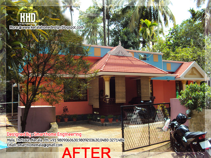 before and after modification of existing house   kerala