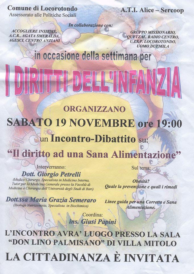 """19-11-2005 Locorotondo: """"Il diritto ad una sana alimentazione"""""""
