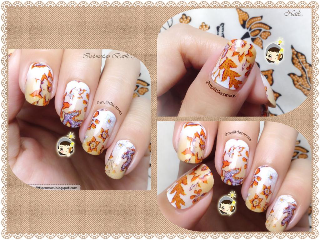Indonesian Batik Nails in White and Tan Flowers