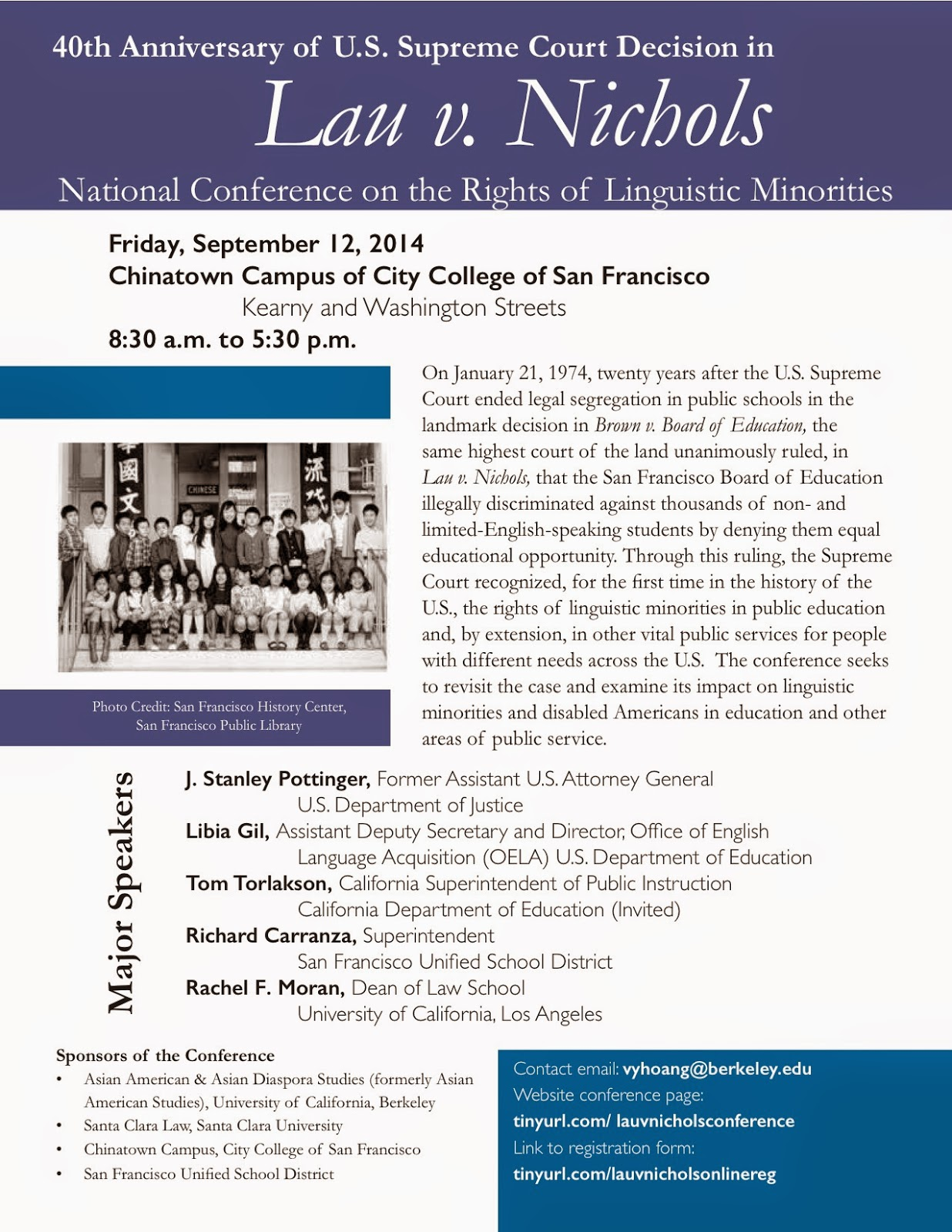 40th Anniversary of Lau v. Nichols Decision: A National Conference on the Rights of Linguistic Minorities