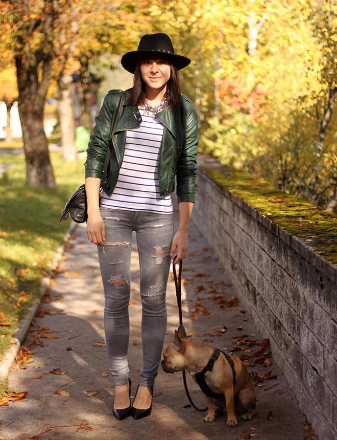 outfit trend fashionblogger grey jeans skinny shredded lederjacke sarenza pumps buffalo hut nieten streifen shirt 04