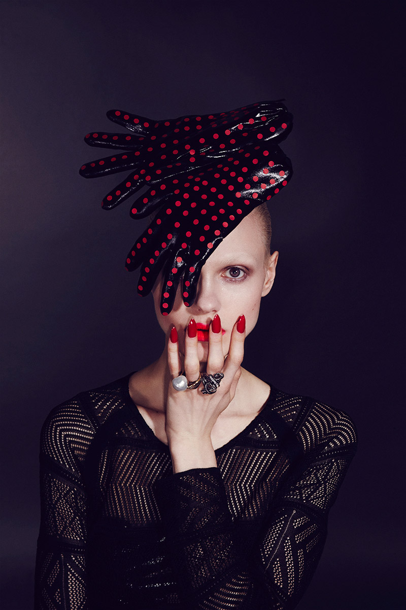 Black gloves with nails - Post Contains Futuristic Alien Avant Garde Edgy Makeup Beauty Editorial With Model Nora Vai Black Glove Headpiece Fingered Glove Hat Fingered Glove