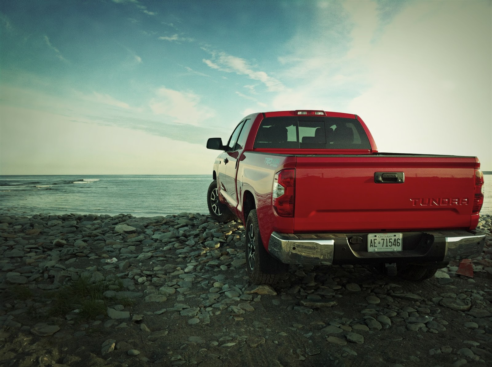 2014 Toyota Tundra red double cab beach