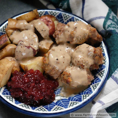 A family recipe for Swedish meatballs. Lightly spiced with allspice and cream, these beef and pork meatballs bake in the oven for a taste of the holidays any time of year.