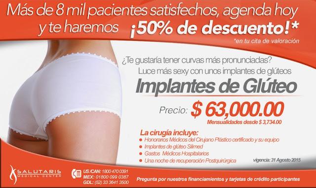 Paquete de Aumento de gluteos con implantes dr. Rafael Vergara en Guadalajara Mexico