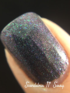 Emerald & Ash Your Face CosmoProf Vegas exclusive over black polish with glossy top coat macro