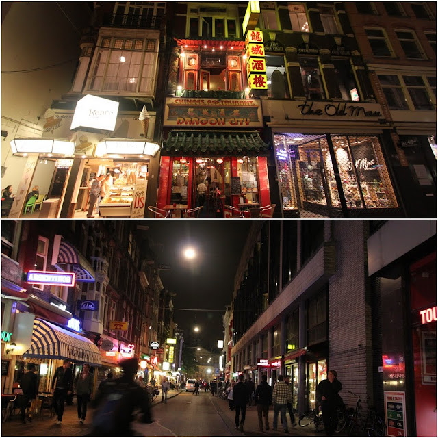 Popular International eateries including Chinese cuisine in the downtown of Amsterdam, Netherlands