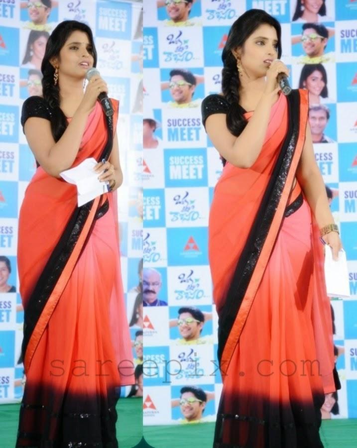 MAA-TV-Anchor-Shyamala-pink-saree-Oka-laila-kosam-success-meet