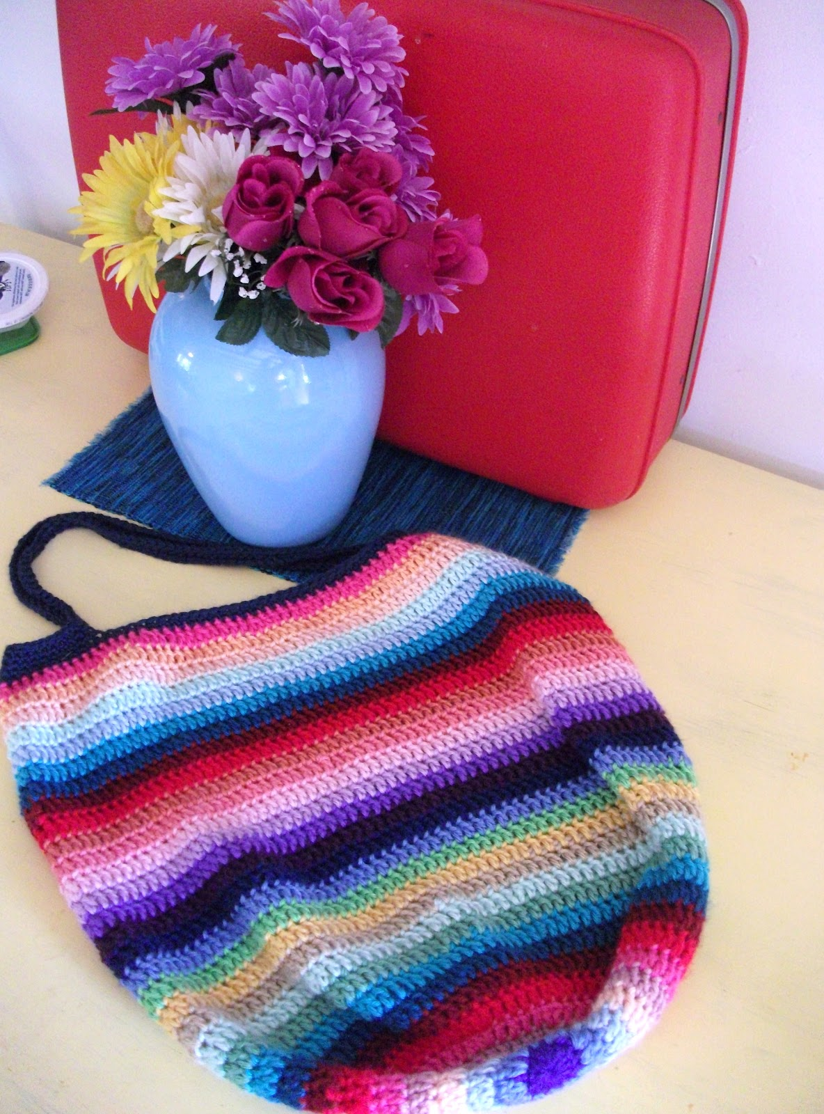 Crochet Rainbow Bag : Pattern will be up tonight...its all simply soft yarn.