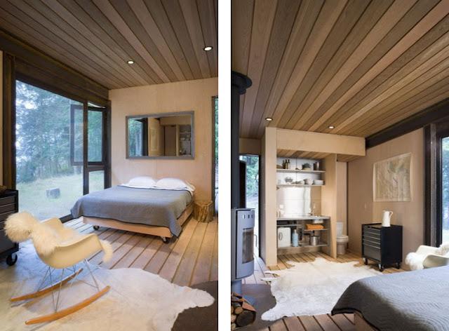 en la gulf cabin los de madera tanto en el suelo como en el techo junto con el mobiliario a medida tambin de madera hacen del interior de