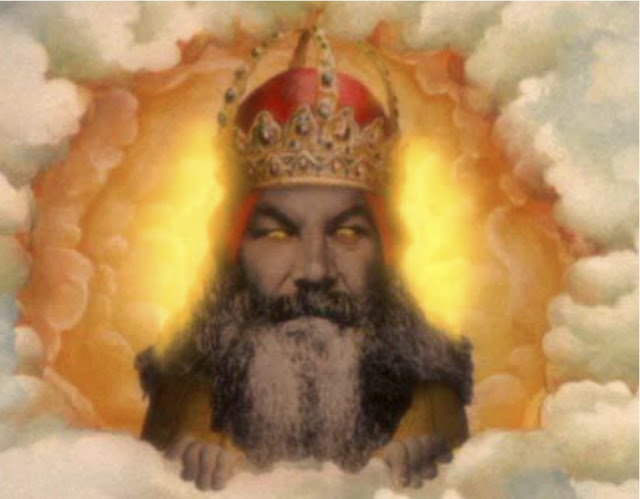Terry Gilliam's conception of God, purportedly based on cricketer W.G. Grace, from Monty Python and the Holy Grail.
