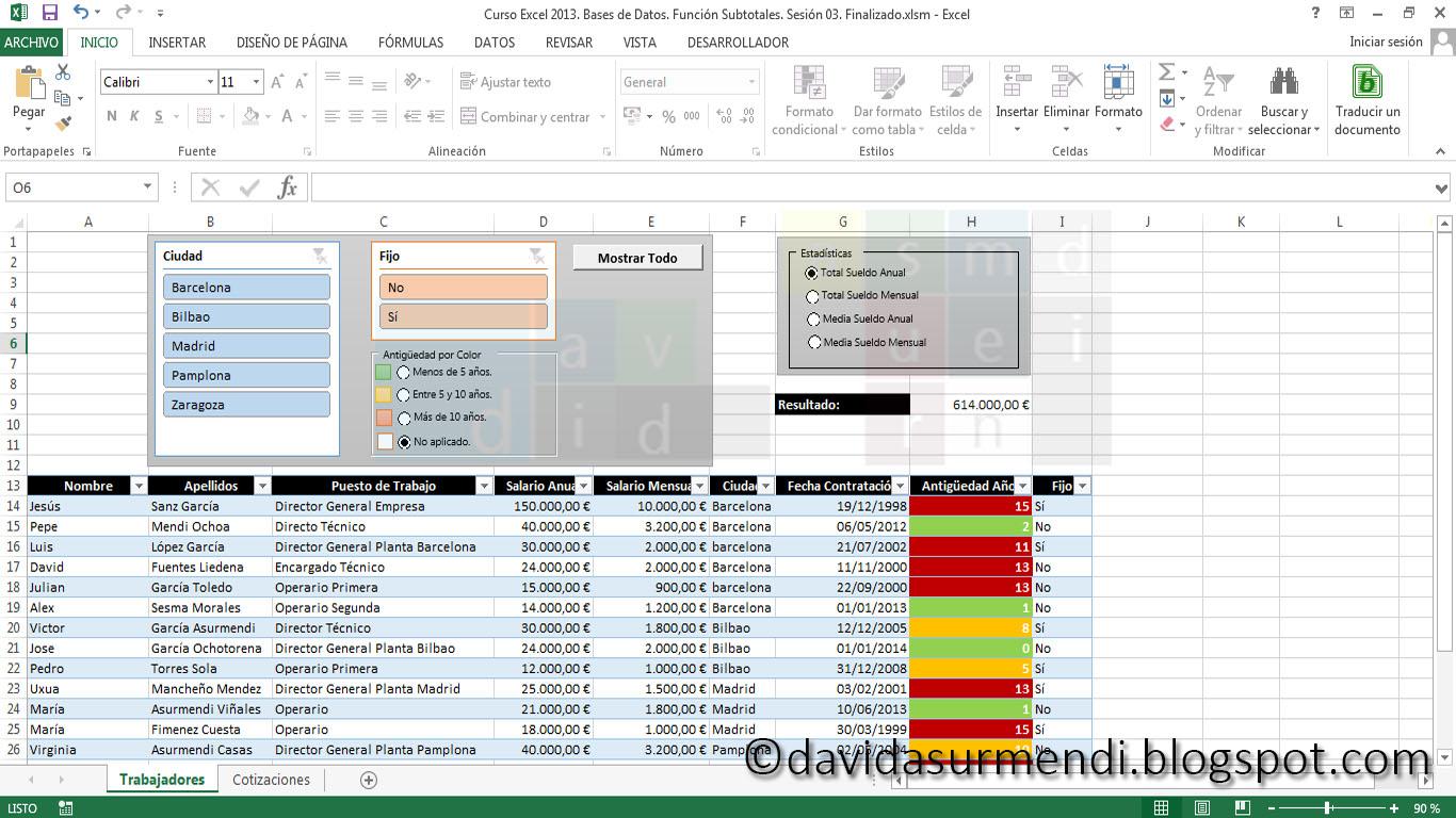 Aplicando Filtros en Excel 2013.