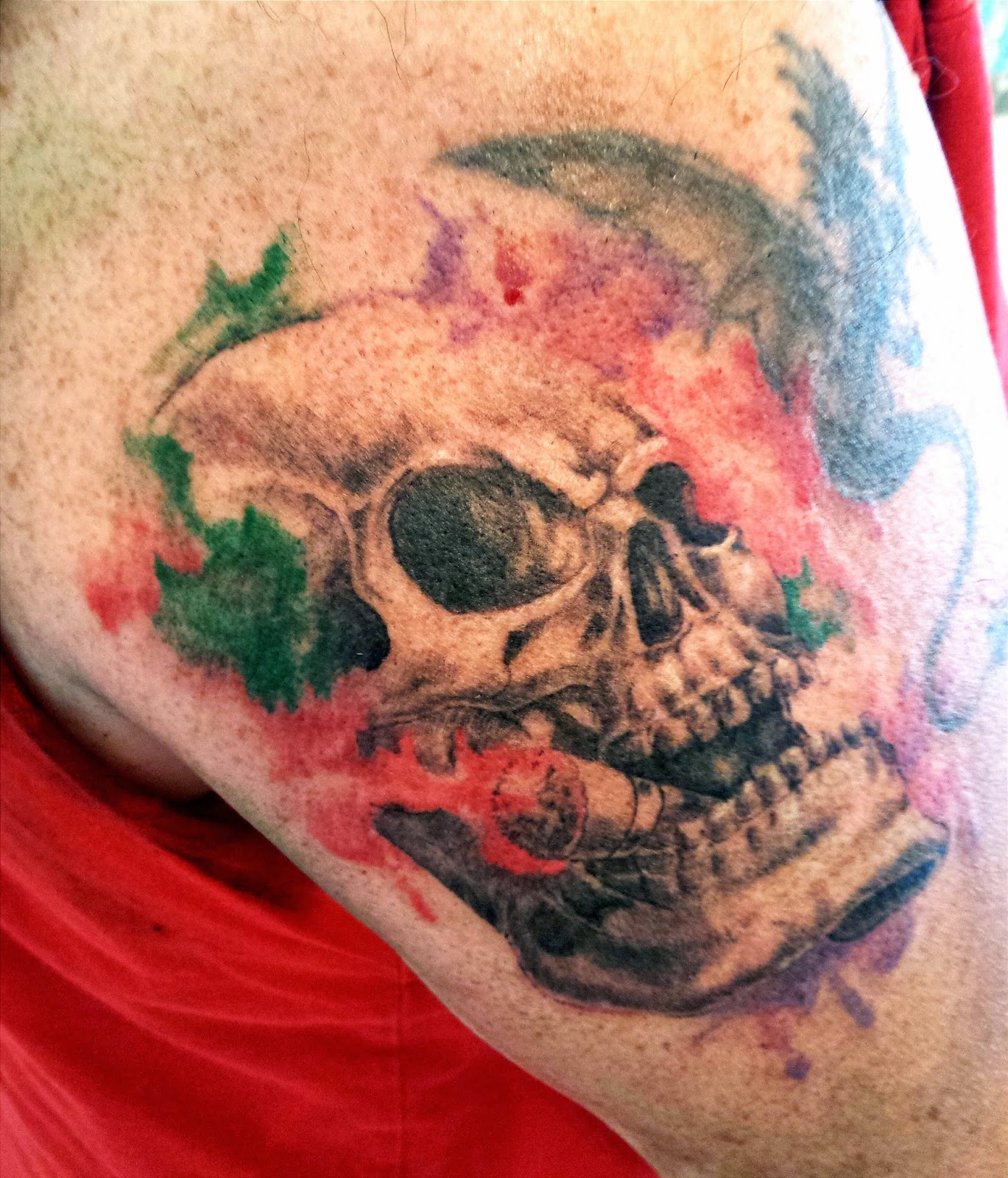 Skull and Cigar Watercolor Tattoo