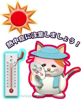 猫キャラを使った熱中症の無料イラスト