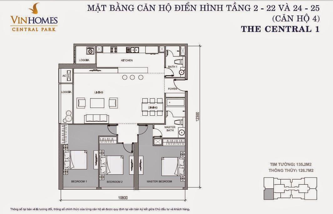 Mặt bằng căn hộ Vinhomes Central Park số 4 tầng 2 - 22 và 24 -25