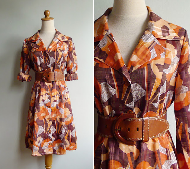 vintage 70's secretary dress medium or large