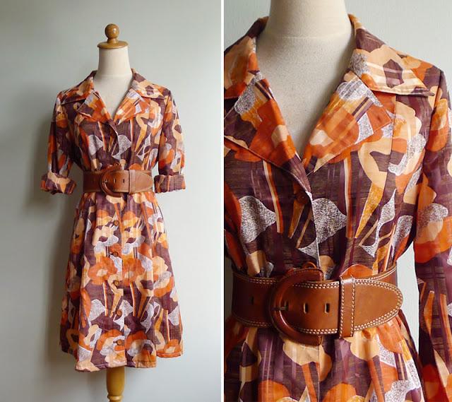 vintage 70's secretary dress medium or large