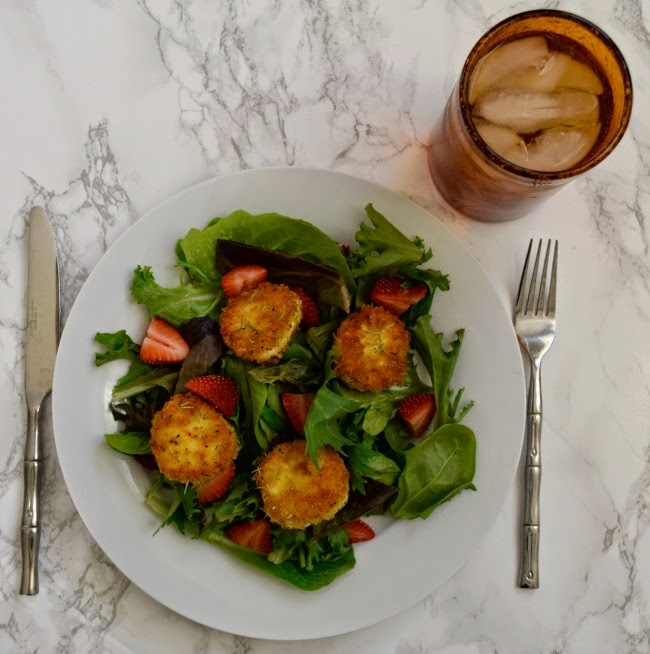 goat cheese croquettes - goat cheese salad - strawberry and goat cheese
