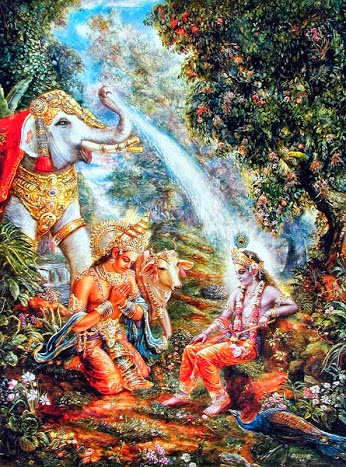 Indra praying to Krishna