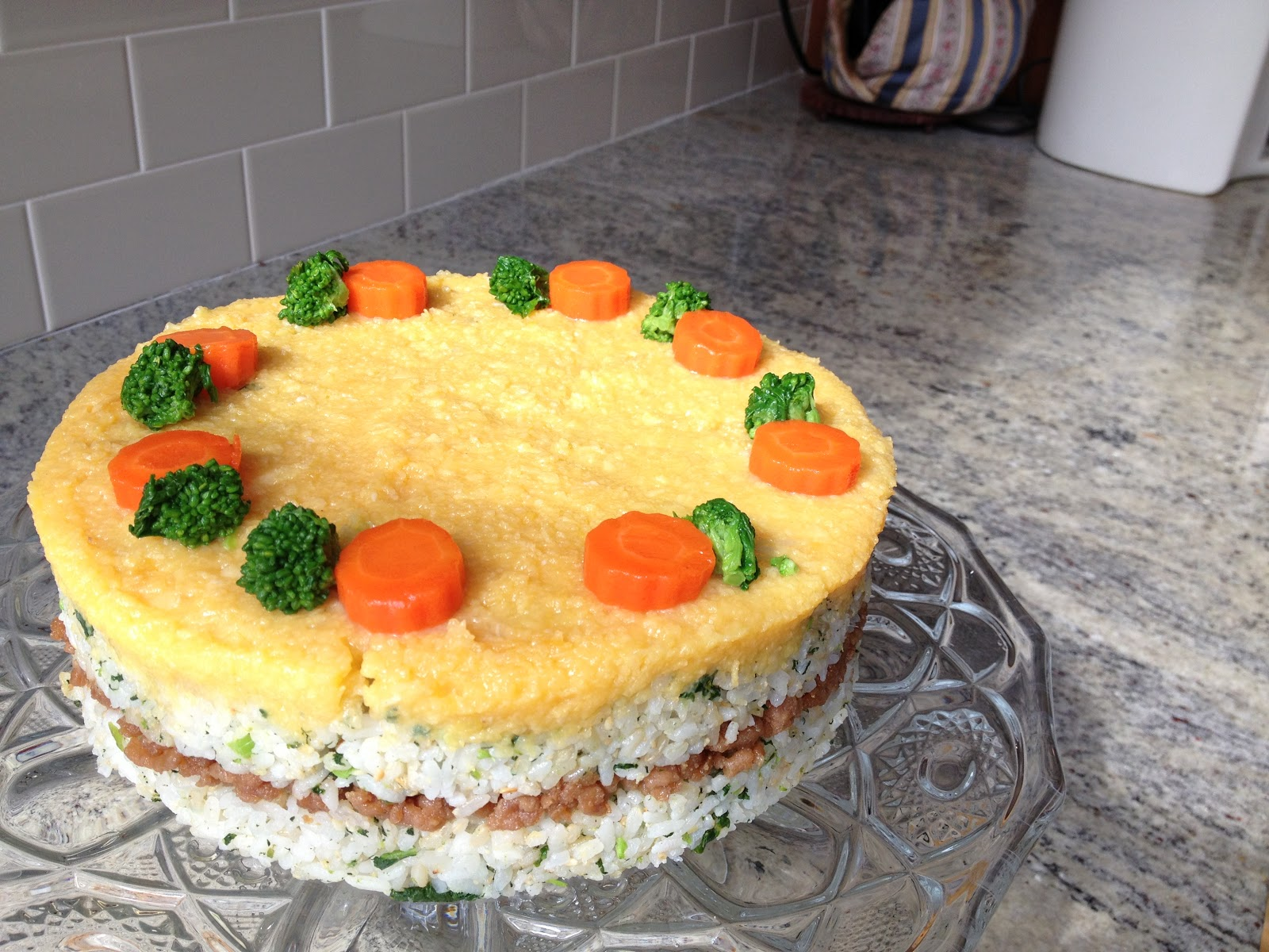 Sushi Cake-- made with eggs, sushi rice, rapini, and ground chicken