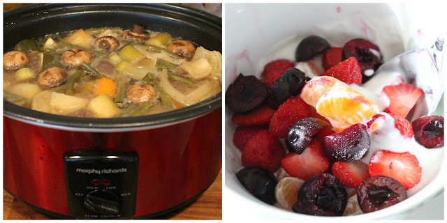 2 picture slimming world meal photo collage. Beef stew in slow cooker, bowl of fruit with yoghurt and sweetener