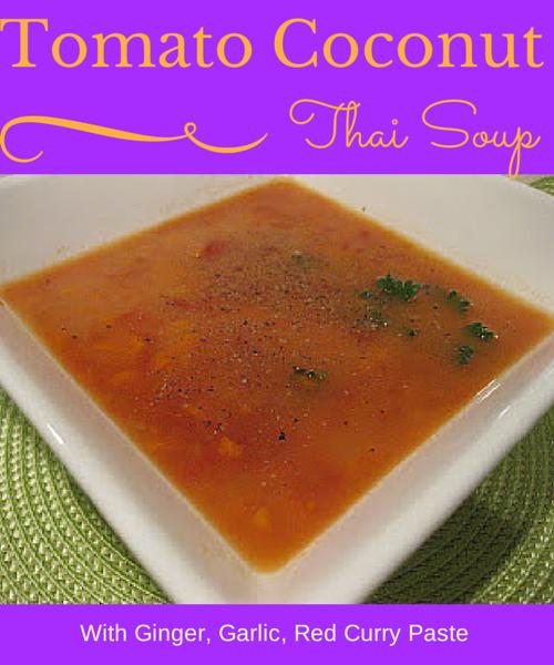 bowl of thai coconut tomato soup