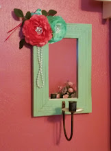 MINT GREEN COTTAGE SHABBY CHIC MIRRORED WOODEN CANDLE SCONCE