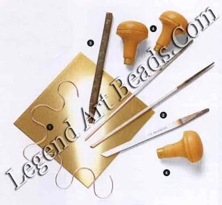 1 Brass sheet with contrasting silver wire; 2 chisel type gravers with different-sized cutting edges; 3 large punch for tapping wire into grooves; 4 wooden handles for graver chisels.