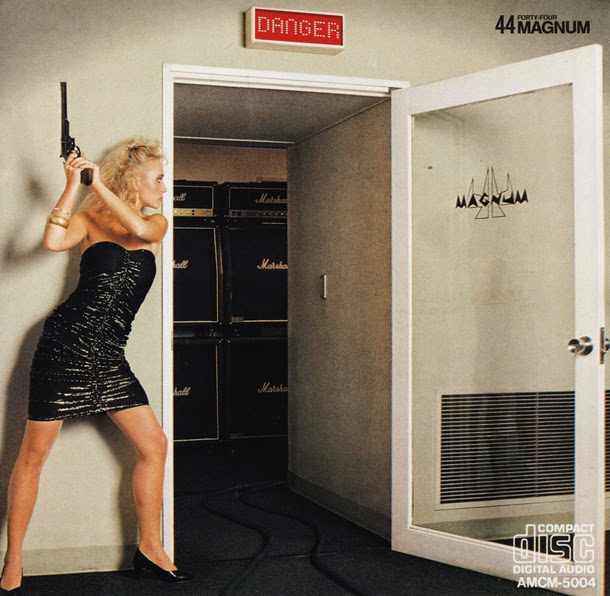 metal album cover woman with gun