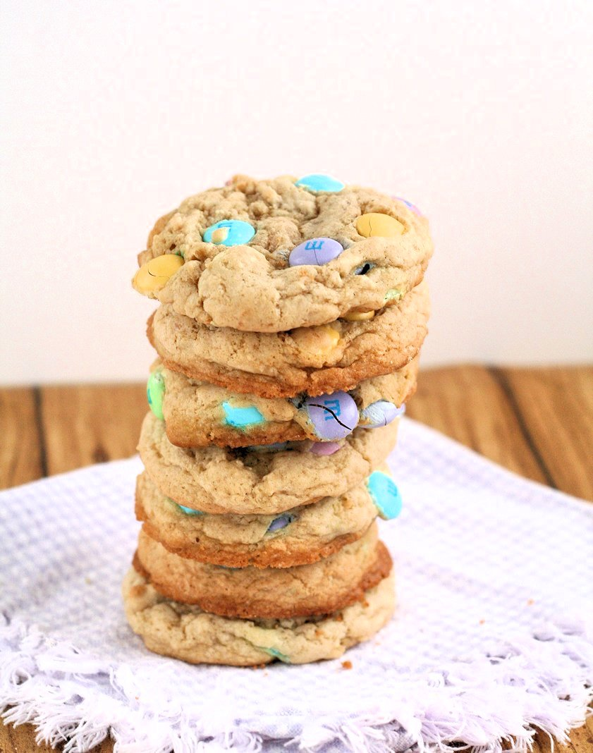 Big, Soft {Easter} M&M Cookies: Fluffy and soft for days...with NO shortening!