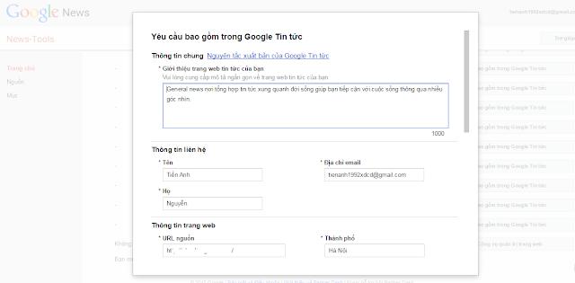 đăng kí Google News