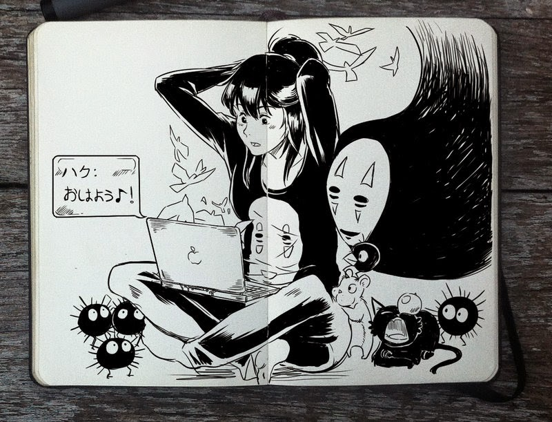 21-Spirited-Away-Gabriel-Picolo-365-Days-of-Doodles-end-of-2014-www-designstack-co